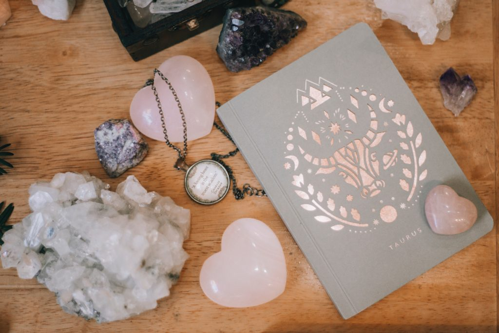 Crystal altar with books and other sentimental items