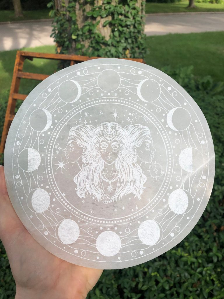 Selenite Charging Plate etched with the goddess Hecate